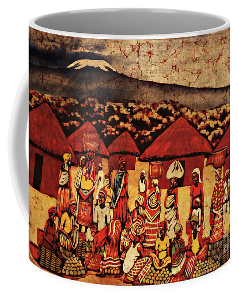 Batik Coffee Mug featuring the tapestry - textile Mount Kilimanjaro by Eamonn Hogan
