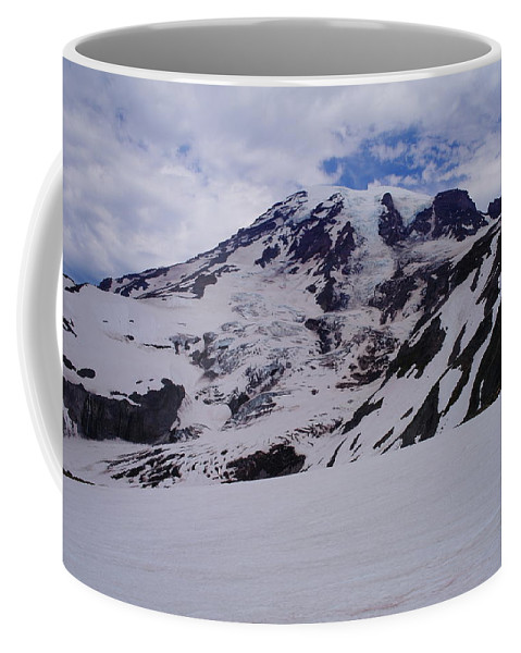 Mountains Coffee Mug featuring the photograph Mount Rainer In The Clouds by Jeff Swan