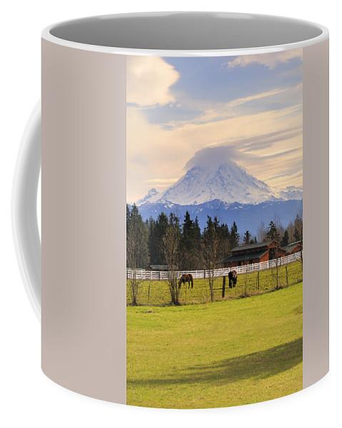 Mount Rainier And Grazing Horses Coffee Mug featuring the photograph Mount Rainier And Grazing Horses by Gary Silverstein