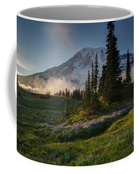 Rainier Coffee Mug featuring the photograph Mount Rainier Evening Fog by Mike Reid