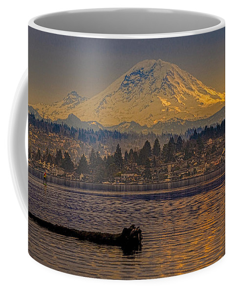 Mount Rainier Coffee Mug featuring the painting Mount Rainier by Mike Penney
