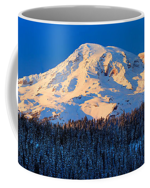 America Coffee Mug featuring the photograph Mount Rainier Winter Evening by Inge Johnsson