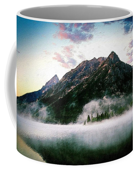 Lake Coffee Mug featuring the painting Mountain By The Lake by Florian Rodarte