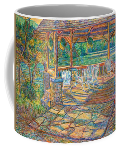 Lake Coffee Mug featuring the painting Mountain Lake Shadows by Kendall Kessler