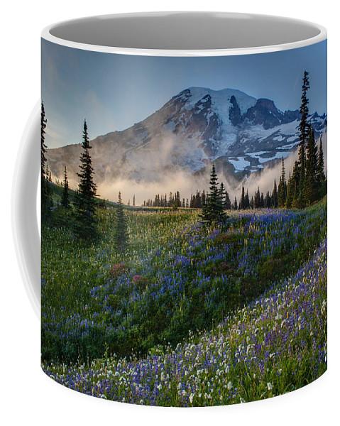 Rainier Coffee Mug featuring the photograph Mountain Meadow Serenity by Mike Reid