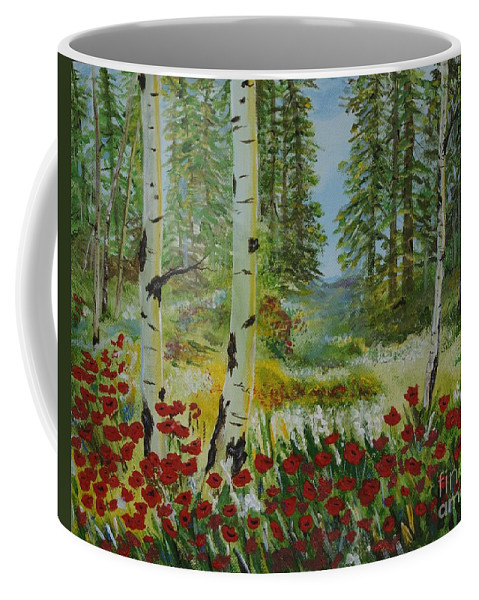 Mountain Coffee Mug featuring the painting Mountain Poppies by Leslie Allen