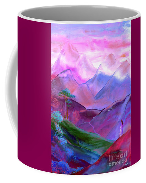 Meditation Coffee Mug featuring the painting Mountain Reverence by Jane Small