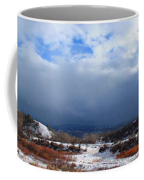 Roena King Coffee Mug featuring the photograph Mountain Snow Coming by Roena King
