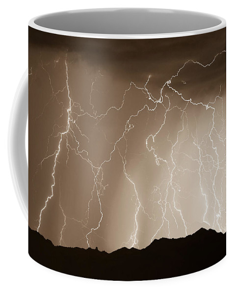Lightning Coffee Mug featuring the photograph Mountain Storm - Sepia Print by James BO Insogna