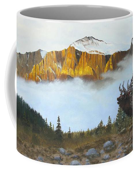 Elk Coffee Mug featuring the painting Mountain Sunrise Echoes by Johanna Lerwick