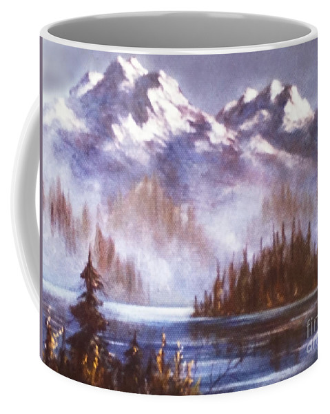 Mountains And Inlet Coffee Mug featuring the painting Mountains And Inlet by Teresa Ascone