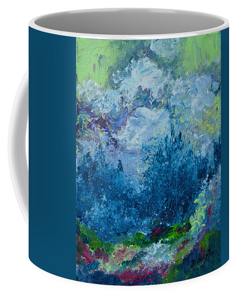 Spring Coffee Mug featuring the painting Mountains In Spring by Donna Blackhall