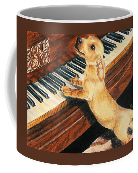 Purebred Dog Coffee Mug featuring the drawing Mozart's Apprentice by Barbara Keith