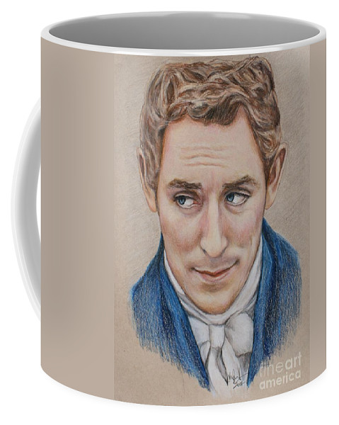Austenland Coffee Mug featuring the drawing Mr. Nobley by Christine Jepsen