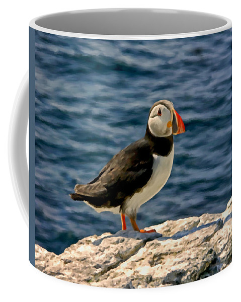 Sea Birds Coffee Mug featuring the painting Mr. Puffin by Michael Pickett