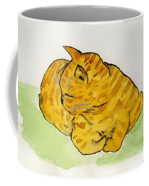 Cat Painting Coffee Mug featuring the painting Mr. Yellow by Reina Resto