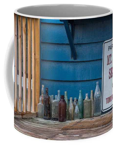 Old Bottles Coffee Mug featuring the photograph Mt Pleasant Seafood by Dale Powell