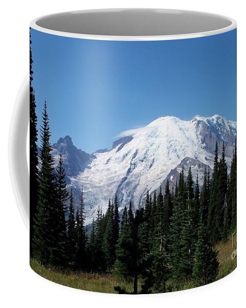 Mt. Rainier In August Coffee Mug featuring the photograph Mt. Rainier In August by Chalet Roome-Rigdon