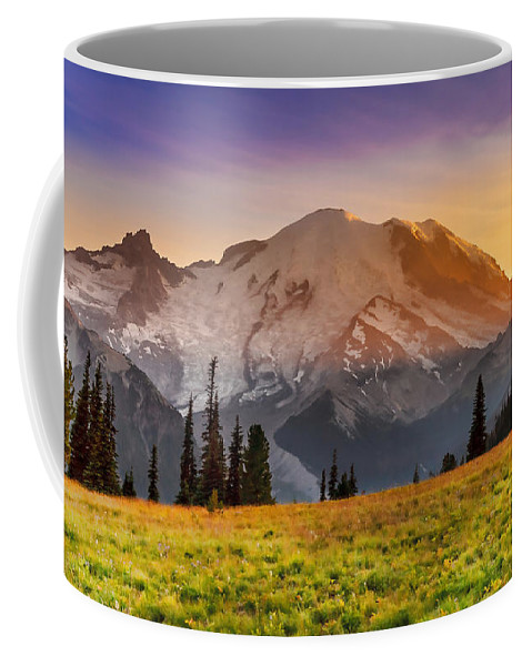 Mt Coffee Mug featuring the photograph Mt. Rainier Sunset 2 by Mike Penney