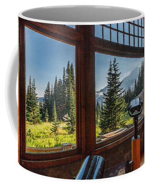 Mt. Rainier Coffee Mug featuring the photograph Mt. Rainier Visitor's Center by Mike Penney