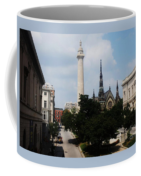 Baltimore Art Stock Shot Home Decor Mount Vernon Place Urban Landmarks Washington Monument Buildings Outdoors Walters Art Gallery Peabody Greenery Belvedere Methodist Church Spires Iconic Image Mt Vernon Park Canvas Print Wood Print Etal Frame Poster Print Available On Greeting Cards Pouches T Shirts Tote Bags Shower Curtains Wall Tapestries Mugs Weekender Tote Bags Throw Pillows And Phone Cases Coffee Mug featuring the photograph A Unique Perspective Of Mt. Vernon Place Baltimore by Marcus Dagan