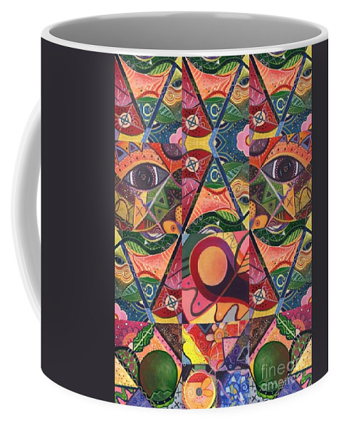 Abstract Coffee Mug featuring the painting Much More Than A Face - A Joy Of Design Series Compilation by Helena Tiainen
