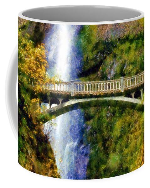 Multnomah Falls Bridge Coffee Mug featuring the digital art Multnomah Falls Bridge by Kaylee Mason