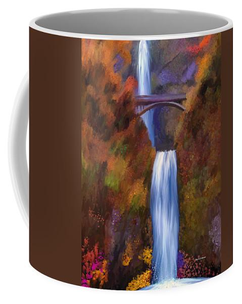 Multnomah Falls Coffee Mug featuring the painting Multnomah Falls In Autumn by Angela Stanton