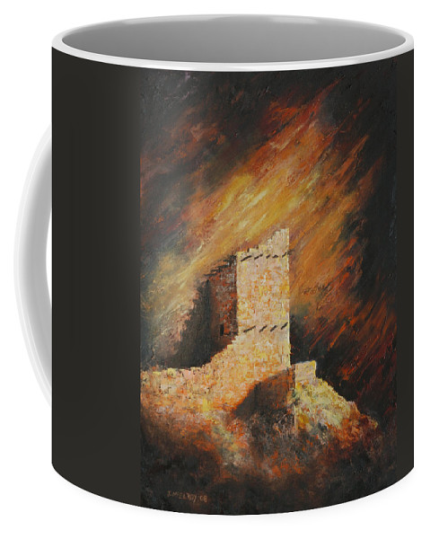 Anasazi Coffee Mug featuring the painting Mummy Cave Ruins 2 by Jerry McElroy
