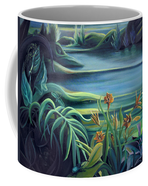 Mural Coffee Mug featuring the painting Mural Bird Of Summers To Come by Nancy Griswold