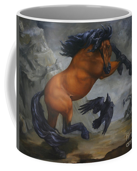 Horse Coffee Mug featuring the painting Murder Of Crows by Lisa Phillips Owens