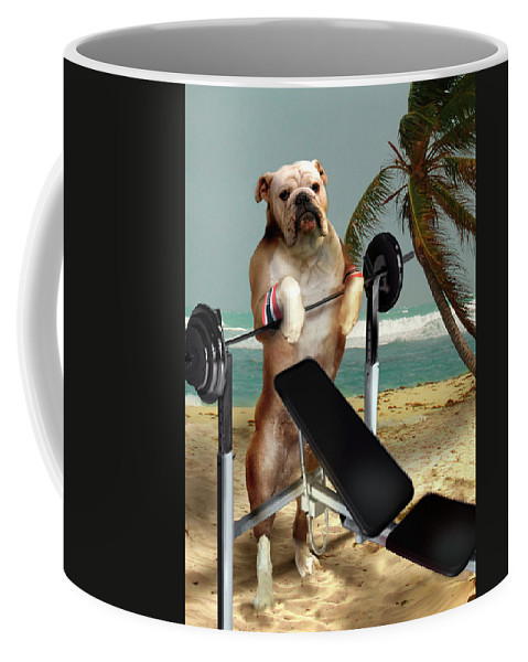Pet Picture Dog Lifting Weights Print Coffee Mug featuring the painting Muscle Boy Boxer Lifting Weights by Regina Femrite