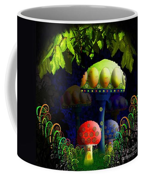 Mushroom Coffee Mug featuring the painting Mushroom Town by Neil Finnemore
