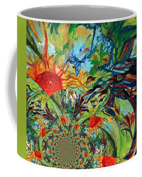 Music Coffee Mug featuring the digital art Music In Bird Of Tree Assymetrical by Genevieve Esson