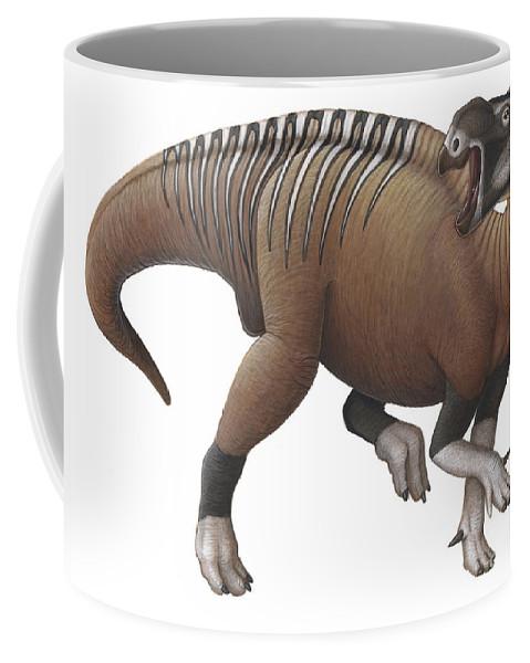 Illustration Technique Coffee Mug featuring the digital art Muttaburrasaurus Dinosaur by H. Kyoht Luterman