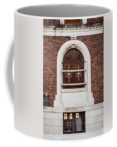 Architecture Coffee Mug featuring the photograph Mutual Aid Historic Bluilding by Melinda Ledsome