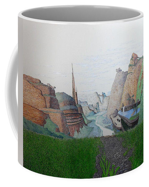 Landscape Coffee Mug featuring the painting My Bigger Back Yard by A Robert Malcom