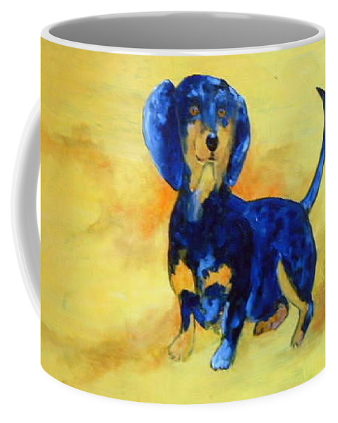 Blue Coffee Mug featuring the painting My Dog by Lord Frederick Lyle Morris