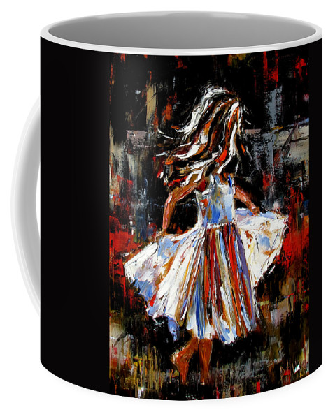 Child Coffee Mug featuring the painting My Dress by Debra Hurd