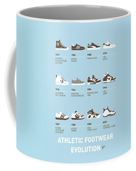 Minimal Coffee Mug featuring the digital art My Evolution Sneaker Minimal Poster by Chungkong Art