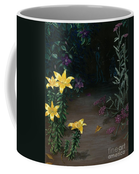Woman Coffee Mug featuring the painting My Garden by Nancy Dunham
