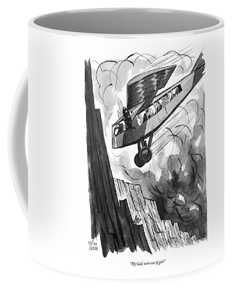 (passenger In Airplane As It Is About To Crash Into Mountainside.) Psychology Coffee Mug featuring the drawing My God, We're Out Of Gin! by Peter Arno
