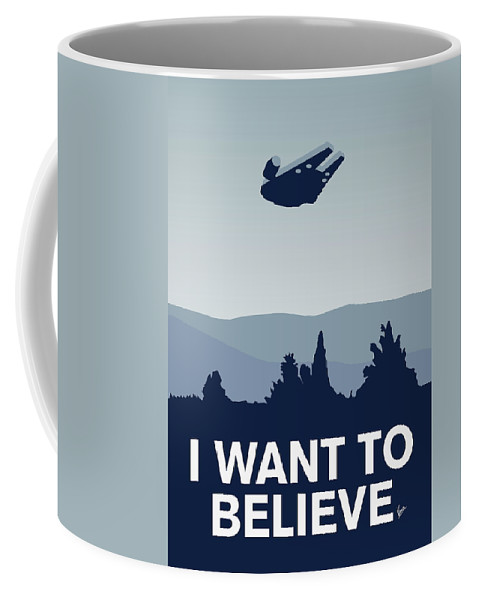 Classic Coffee Mug featuring the digital art My I Want To Believe Minimal Poster-millennium Falcon by Chungkong Art