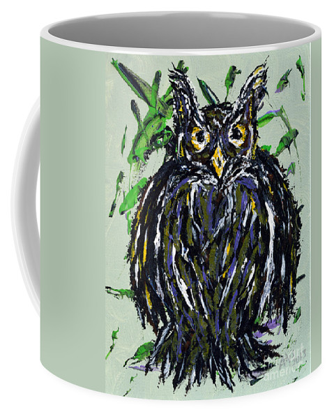 Owl Coffee Mug featuring the painting My Little Owl by Alys Caviness-Gober