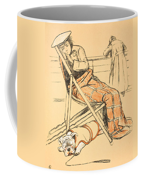 Dog Coffee Mug featuring the painting My Miserable Mistress by Cecil Charles Windsor Aldin