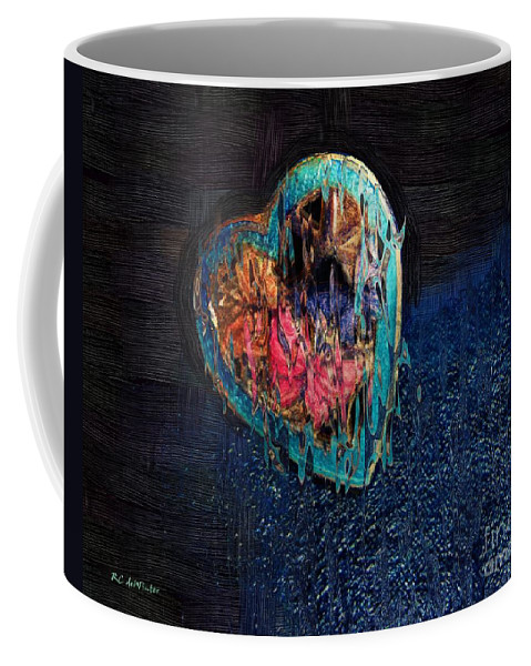 Heart Coffee Mug featuring the painting My Rough Imperfect Heart by RC DeWinter
