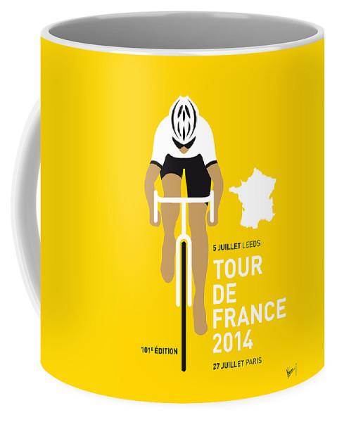 Minimal Coffee Mug featuring the digital art My Tour De France Minimal Poster 2014 by Chungkong Art