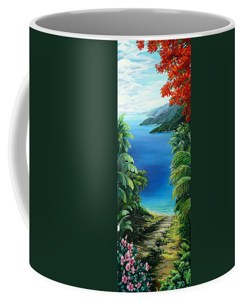 Tropical Painting Caribbean Painting Sea Scape Painting Seaview Painting Flamboyant Painting  Island Painting  Coffee Mug featuring the painting My View by Karin Dawn Kelshall- Best