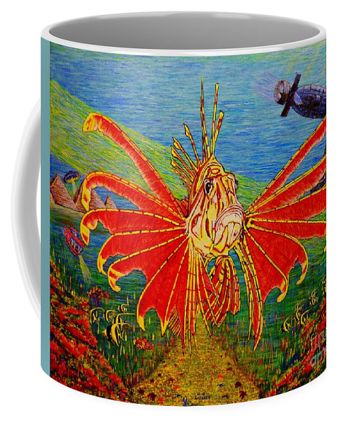 Fish Coffee Mug featuring the painting My World Or Get Lost by Viktor Lazarev