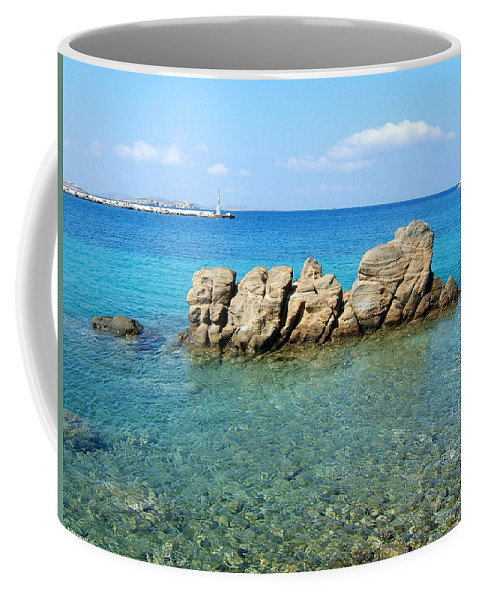 Mykonos Greek Islands Cyclades Aegean Sea Water Ocean Seascape Rocks Turquoise Coffee Mug featuring the photograph Mykonos Blue Aegean by Brenda Salamone
